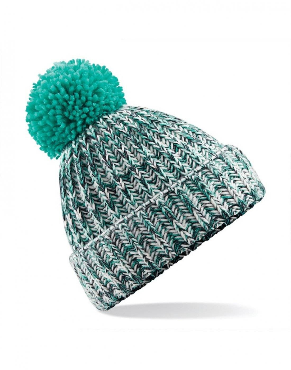 3bb620f5dda37 Twist-knit Pom Pom Beanie by Beechfield Headwear (B485)