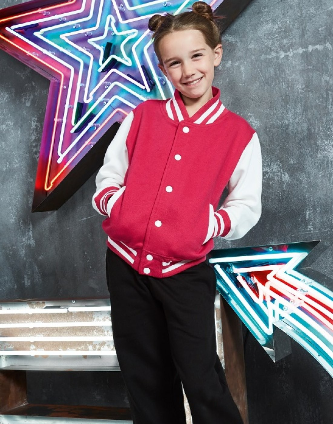 e2ed255f9e8 Personalised Kids Varsity Jacket (JH043B) | AWDis | Banana Moon